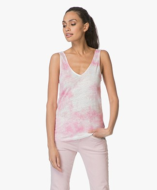 Majestic Filatures Linen Tie-Dye Tank Top - Tie and Dye Azalé