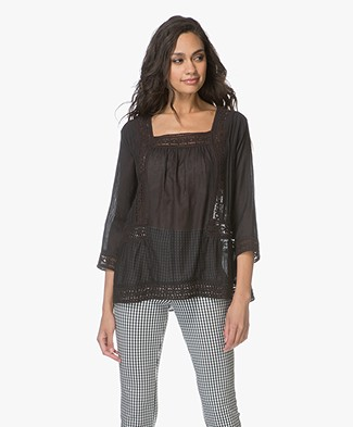 Repeat Embroidered A-line Blouse - Black