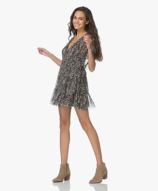 IRO Gilio Chiffon Ruffle Mini Dress - Grey/Beige