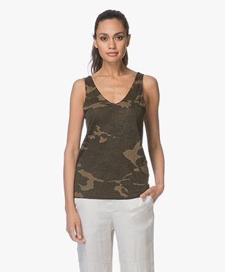 Majestic Linen Jersey Printed Top with Silk - Camouflage Khaki