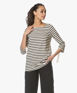 no man's land Cotton Striped T-shirt - Black