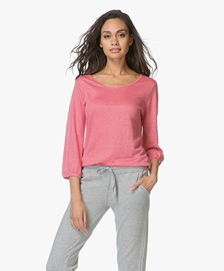 no man's land Linen Cropped Sleeve T-shirt - Peony