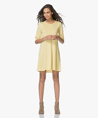 Repeat Fine Knitted A-line Dress - Yellow