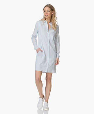 BY-BAR Lies Striped Shirt Dress - Sky Blue