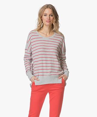 Denham Captain Striped Fleece Sweater - Light Grey Melange