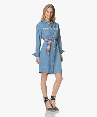 Denham Mazarine Denim Shirt Dress - Washed Indigo