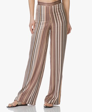 LaSalle Viscose Wide Leg Pants - Stripe
