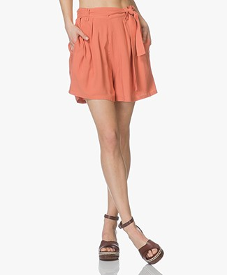 Marie Sixtine Sandra Pleated Viscose Shorts - Terracotta