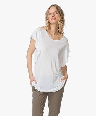 BRAEZ Titty T-shirt with Flounce Sleeves - White
