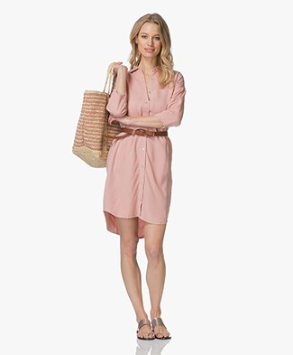 BY-BAR Bloeme Cropped Sleeve Shirt Dress - Ash Rose