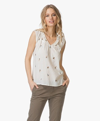 indi & cold Cotton Top with Embroidery - Off-white