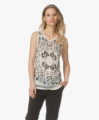 Majestic Filatures Linen-Silk Blend Printed Top - Milk/Noir