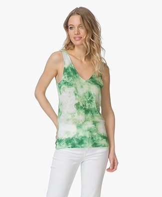 Majestic Filatures Linen Tie-Dye Tank Top - Green