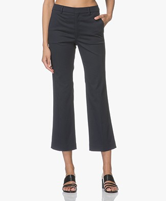 Filippa K Hudson Cotton Cropped Broek - Navy