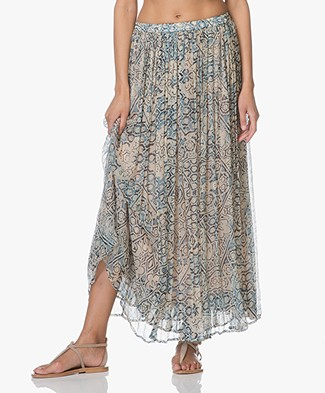 Mes Demoiselles Folklore Printed Skirt - Blue Combo