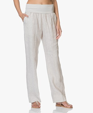 no man's land Linen Pants with Jersey Waistband - Sandstone