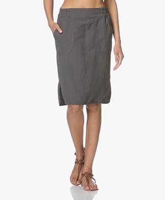 no man's land Linen Blend Skirt - Pewter