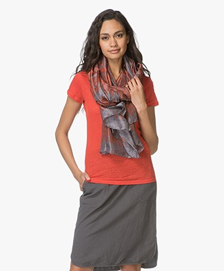 no man's land Pure Silk Scarf - Pewter/Tuscan