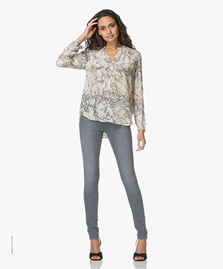 Project AJ117 Glory Printed Blouse with Silk - Beige/Moss