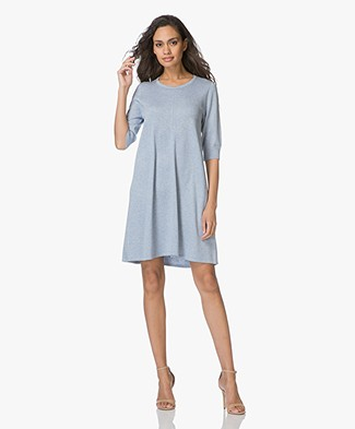 Repeat Fine Knitted A-line Dress - Light Blue