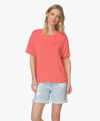 Drykorn Kyla Cupro T-shirt - Coral Red