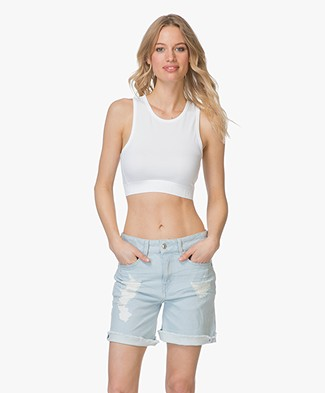 Drykorn Samia Cropped Sporty Top - White
