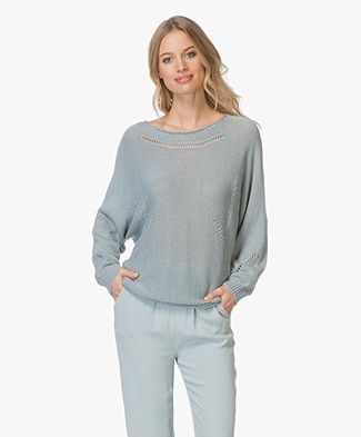 indi & cold Viscose Blend Sweater with Ajour Details - Agua