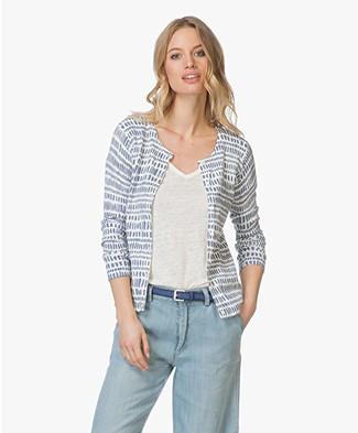 Belluna Club Cotton Cardigan - Blue/Off-white