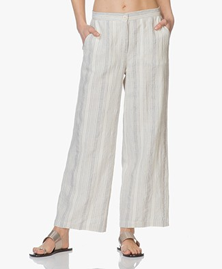 no man's land Cropped Pants in Linen Blend - Aquamarine
