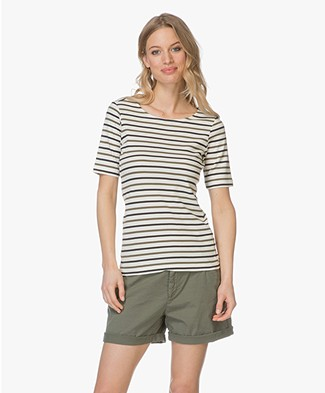 Plein Publique Les Deux Striped T-shirt - Ecru/Army/Black