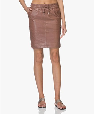 BY-BAR Spring Leather Drawstring Skirt - Plum