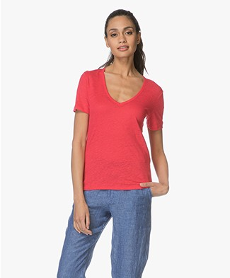 Closed Linen V-neck T-shirt - Fuchsia
