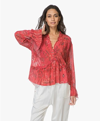 IRO Bavone Paisley Printed Blouse - Red