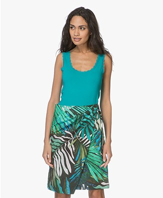 Kyra & Ko Carol Top with Lace - Turquoise