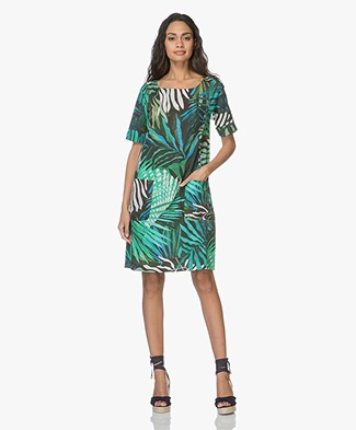 Kyra & Ko Gina Dress with Jungle Print - Turquoise