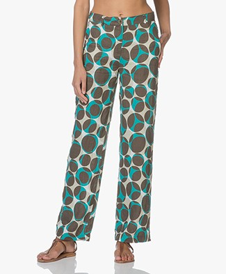 Kyra & Ko Ted Linen Printed Pants - Army