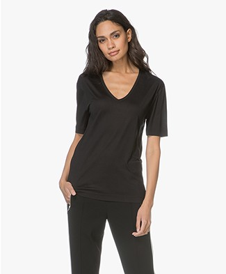 Joseph Silk Jersey V-neck T-shirt - Black