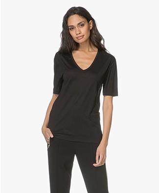 Joseph Loose Silk Jersey V-neck T-shirt - Black