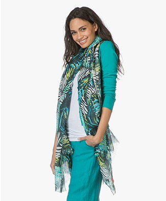 Kyra & Ko Puck Scarf with Jungle Print - Turquoise