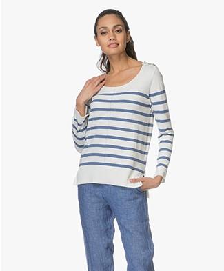 Plein Publique La Mademoiselle Striped Pullover - Ecru/Jeans Blue