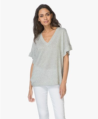 Repeat V-neck Pullover with Short Flounce Sleeves - Pistachio