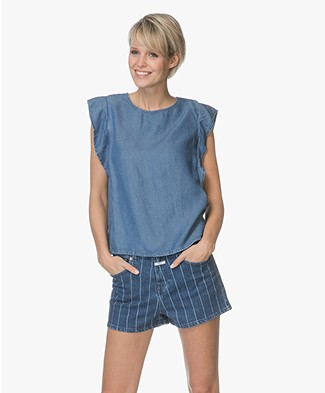Closed Beech Lyocell Flounce Top - Mid Blue