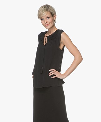 indi & cold Smocked Viscose Top - Black