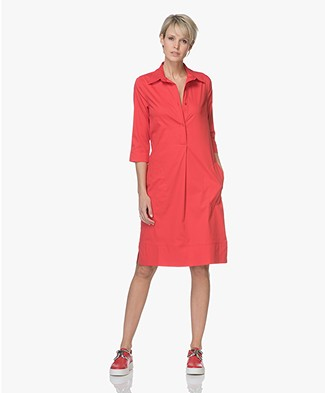 LaSalle Cotton Shirt Dress - Red