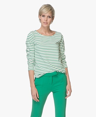 Breizh Striped Long Sleeve L'Aimee - Ecru/Green