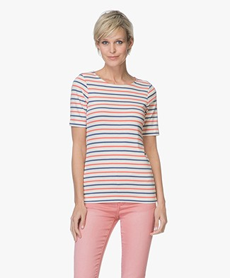 Plein Publique Les Deux Striped T-shirt - Ecru/Coral/Blue