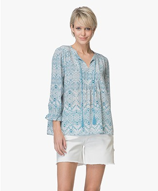 Repeat A-line Print Blouse in Silk - Ethno Tiles