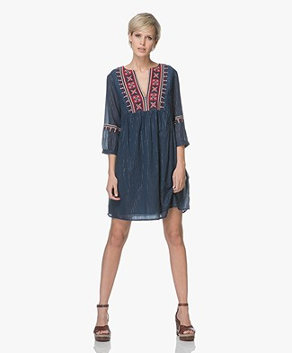 ba&sh Agda Embroidered Voile Dress - Blue