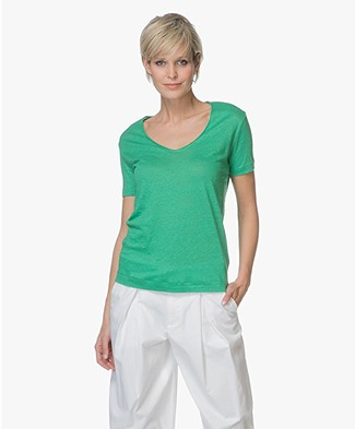 By Malene Birger Jyttio Linnen T-Shirt - Green Garden