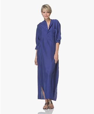 extreme cashmere N°68 Lord Maxi-Blousejurk in Habotai Zijde - Electric Blue